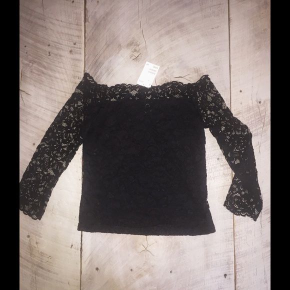 dee061c2aa623c H&M Tops | Hm Fitted Black Lace Off The Shoulder Top | Poshmark
